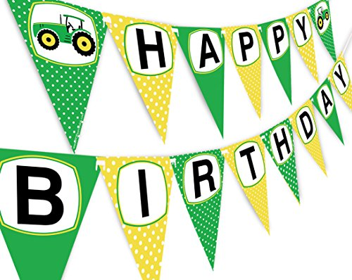 Green Farm Tractor - Green Tractor Happy Birthday Banner Pennant - Farm Banner - Tractor Decorations