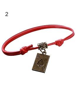 Buyanputra Simple Unisex Poker Bell Hollow Moon Charm Adjustable Wax Rope Bracelet Jewelry 2