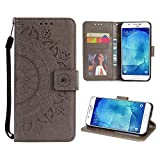 Case for Galaxy A8 2018 PU Leather Flip Wallet Cover, Mistars Tribal Mandala Flower Pattern Embossed Full Body Protection Cove with Card Holder Kickstand Magnetic Closure Shell Inner Soft TPU Silicone Bumper for Samsung Galaxy A8 (2018) - Grey