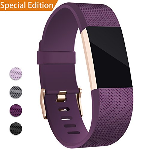 Rose Buckle (Hotodeal For Fitbit Charge 2 Band, Classic Soft TPU Adjustable Replacement Bands Fitness Sport Strap for Fitbit Charge 2, Rose Gold Buckle, Small Purple)