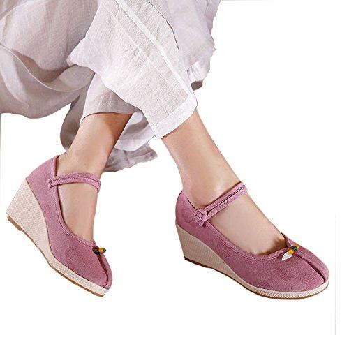 Y&Mai Ethnic Linen Breathable Espadrille Wedge Heel Sandals Women Pink beXpgS