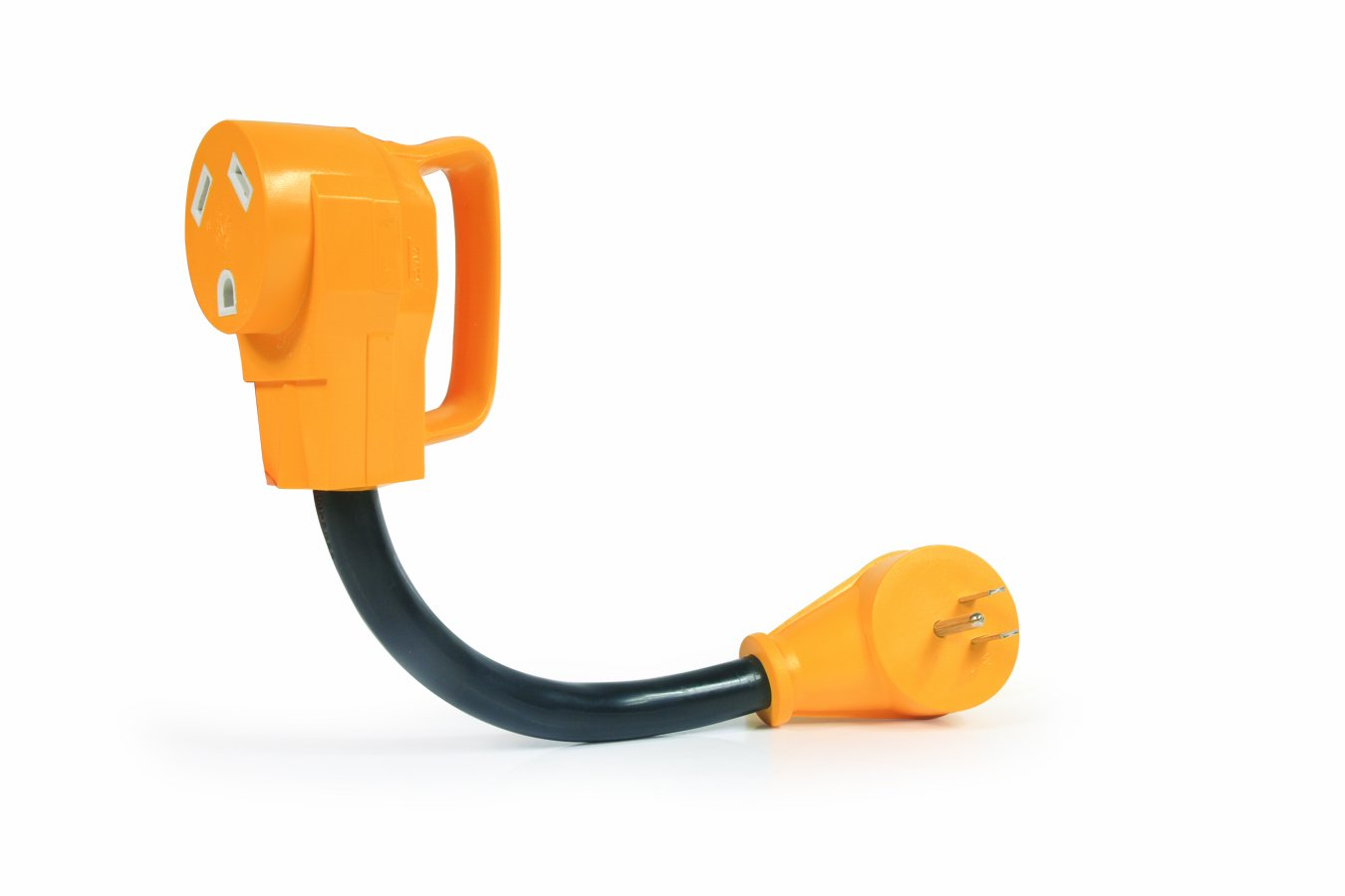 Camco Heavy Duty RV Dogbone Electrical Adapter with Innovative 180 Degree Bend Design and Easy PowerGrip Handle - 15 Amp Male to 30 Amp Female, 12'' (55165)