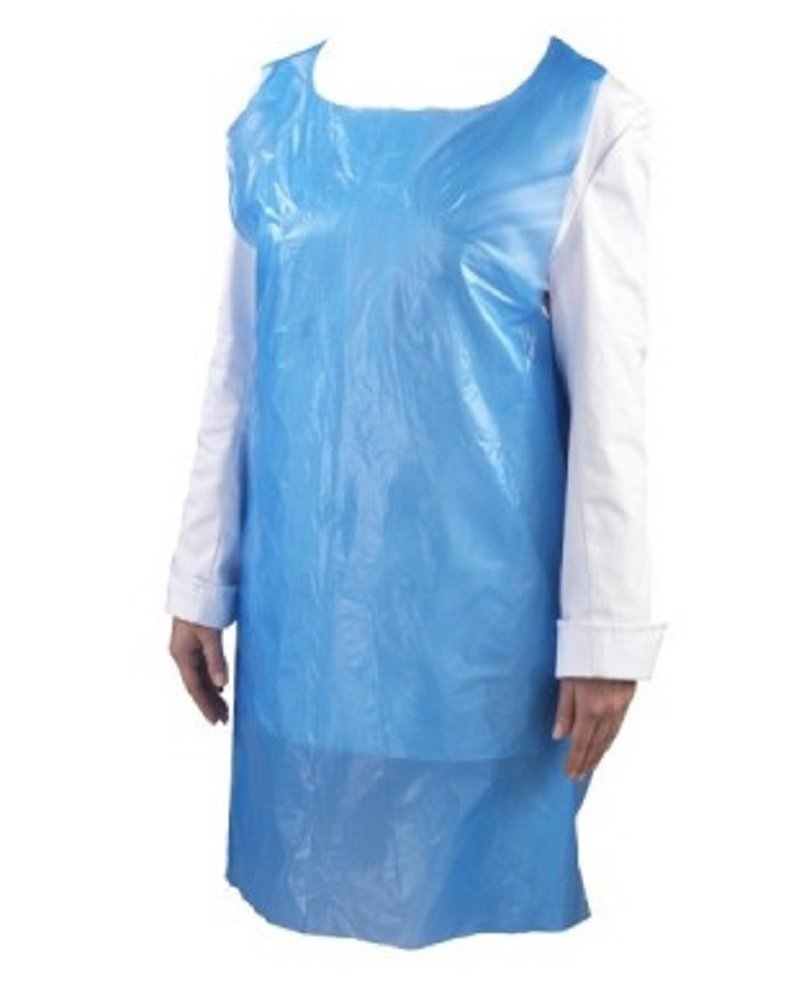 100 Pack Blue PE Aprons 28 x 46 inches. 2 Mil Disposable Polyethylene Aprons. Unisex Waterproof Workwear. Blue Protective Uniform Aprons for Men, Women. Lightweight, Breathable. Wholesale price.
