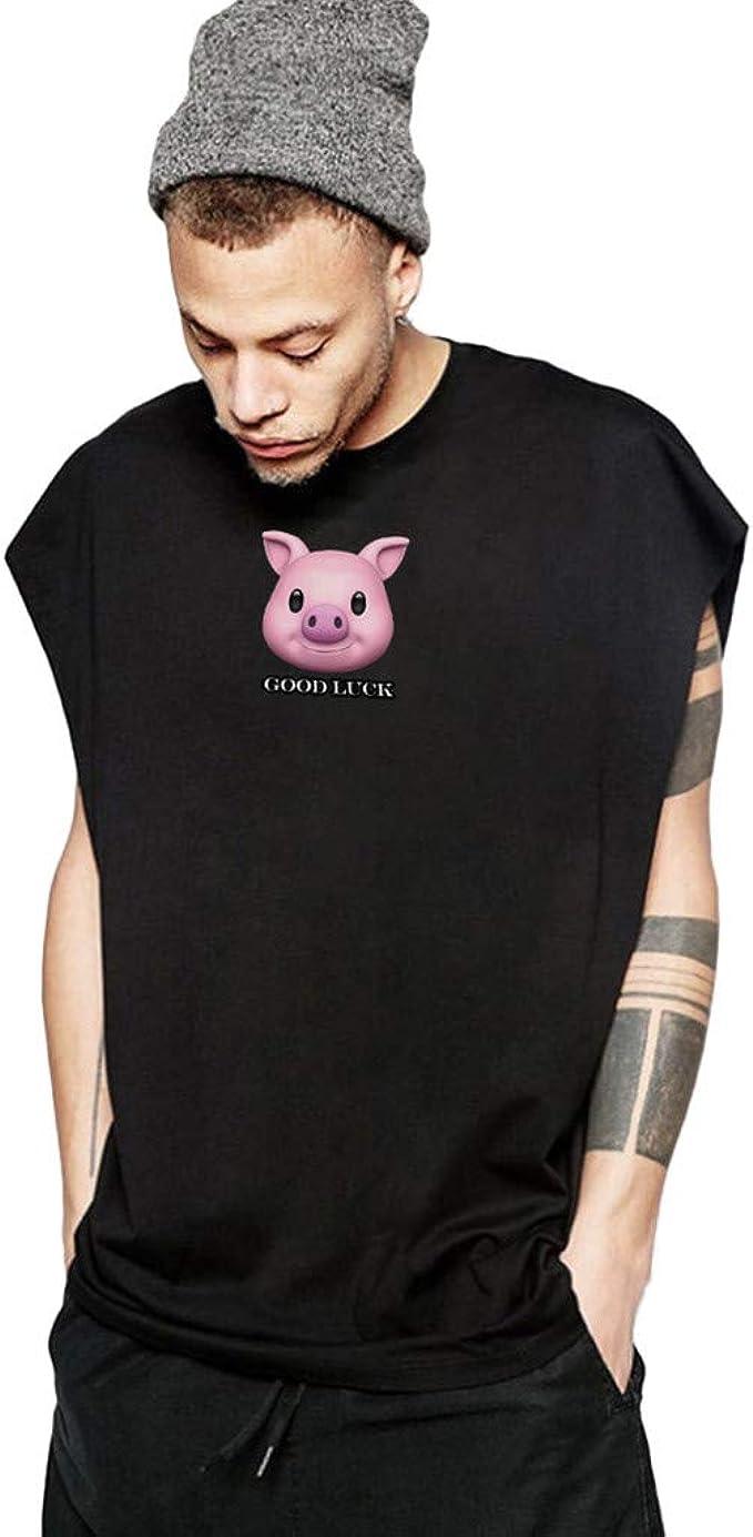 Camiseta de Tirantes sin Mangas con Cuello Redondo, Camiseta Negra, Chaleco Verde, algodón, Color Blanco, para Hombre Negro Negro (S: Amazon.es: Ropa y accesorios