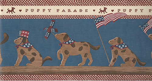 Wallpaper Border Red White Blue Beige Patriotic Americana Puppy Parade Brown Dogs With Stars Stripes