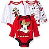 Disney Baby Girls' Minnie Mouse 3 Pack Long Sleeve Bodysuits, Red/White, 6-9 Months