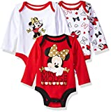 Disney Baby Girls' Minnie Mouse 3 Pack Long Sleeve Bodysuits, Red/White, 0-3 Months