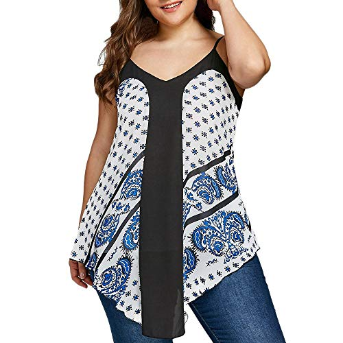 YOcheerful Fashion Womens Casual Blouses Plus Size Vest Paisley Dot Printed Camisole Tank Tops White -