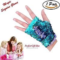 Mermaid Gloves - Dragon Paws Reversible Magic Sequin Fingerless Gloves Bracelet- Dance Birthday Party Favors Kids Girls Women (Purple-Blue)