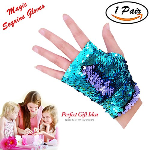 Time-killer Mermaid Gloves - Dragon Paws Reversible Magic Sequin Fingerless Gloves Bracelet- Dance Birthday Party Favors Christmas Gifts for Kids Girls Women (Purple-Blue) (Paw Mitts)