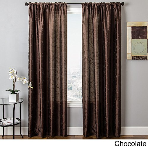 Softline Bay Scroll Embroidered Rod Pocket Sheer Curtain Panel Chocolate 54 x 84 84 Inches (Scroll Rod Pocket Curtain)