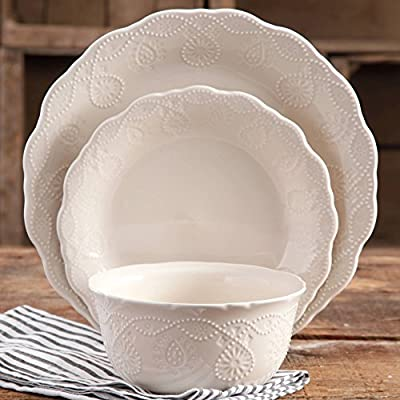The Pioneer Woman 12 Piece CowGirl Lace Elegant Durable Glaze Ceramic Dinnerware Set- Linen