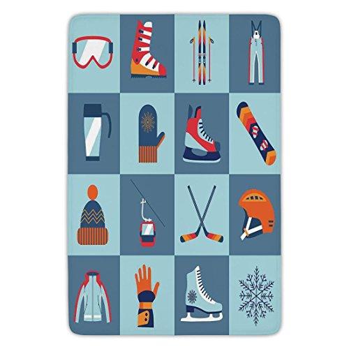 (Bathroom Bath Rug Kitchen Floor Mat Carpet,Kids,Ice Skating Winter Sports Skiing Boot Cap Glasses Glove Helmet Skates Snowboard Print,Flannel Microfiber Non-slip Soft Absorbent)