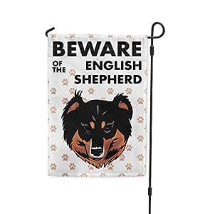 Cuidado de pastor Inglés perro Patio Patio Casa Banner bandera de Jardín W/hierro juego