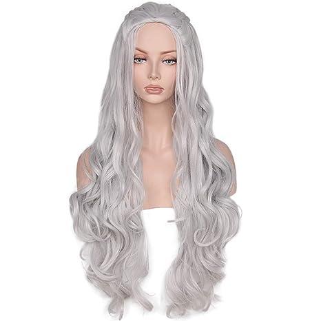 YWIG belleza peluca sintética ondulado largo gris cosplay pelucas pelo juego de tronos Daenerys Targaryen para