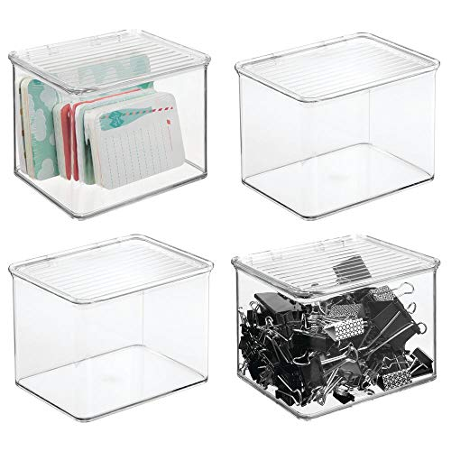 mDesign Stackable Plastic Storage Bin Box with Hinged Lid - Organizer for Office Supplies, Paperclips, Highlighters, Dry Erase Markers, Sticky Notes, Memo Pads - 5