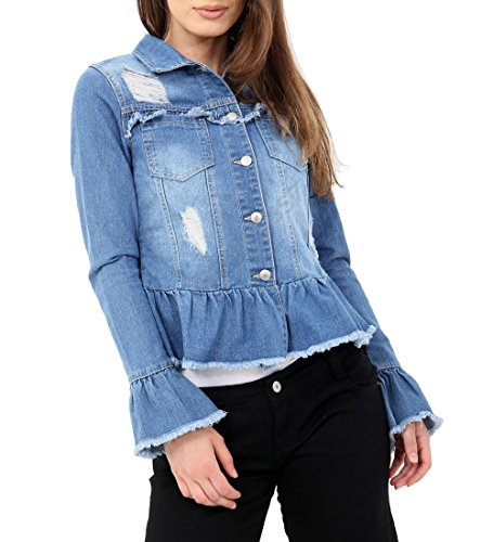 Size 10 12 14 Denim Blue 8 SS7 Frill Peplum 16 Jacket Womens Denim x8q0gwXO