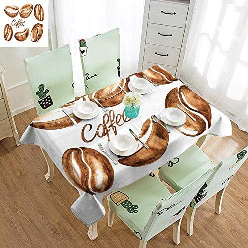 VICWOWONE Waterproof Long Tablecloth Coffee Watercolor Effect Beans Breakfast Drink Brush Strokes Pattern Abstract Artistic and Durable W60 xL84 Caramel White