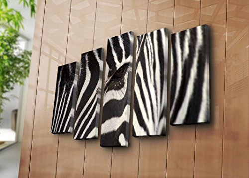 Wall Metal Zebra (LaModaHome Wild Life Canvas Wall Art - Zebra's Stare, Serious, Powerful, Black and White - Wooden Thick Frame Painting, Size (41