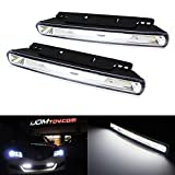 iJDMTOY Xenon White Universal Fit High Power COB Continuous Lighting LED Daytime Running Lights (DRL Lamps)