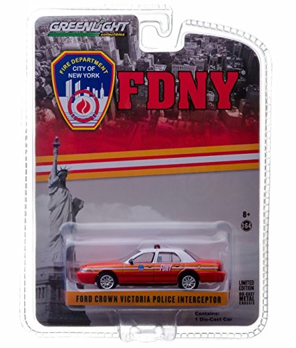 FDNY FORD CROWN VICTORIA POLICE INTERCEPTOR (Official Fire Department / City of New York) Hobby Exclusive 2014 Greenlight Collectibles Limited Edition 1:64 Scale Die-Cast Vehicle