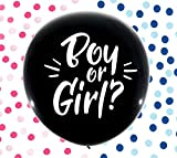 BIG REVEAL CO. Gender Reveal Balloon | 2 Giant 36'' Black Balloons with Pink & Blue Confetti for Boy or Girl | Perfect Baby Announcement, Baby Shower and Gender Reveal Party Supplies Decorations Kit