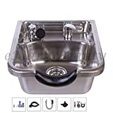 Salon Bowl to use with Chair, Salon and Barber Equipment, Stainless Steel Washout Sink for Professional, Commercial, and Private Hair Salons (Brushed Finish) -TLC-1167 eMark Beauty