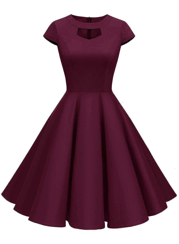ALAGIRLS Womens 1950s Vintage Dress Keyhole Rockabilly Swing Cocktail Party Dress Cap Sleeve