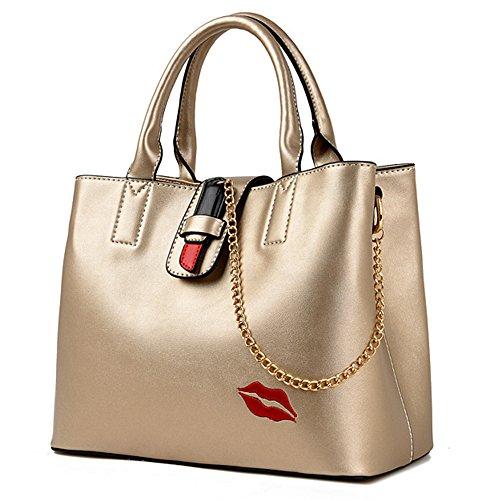 BYD Moda PU Piel Mujeres Bolso Grande Bolsos Totes Bolsa de Hombro mensajero del bolso labios rojos atractivos Bolso Oro