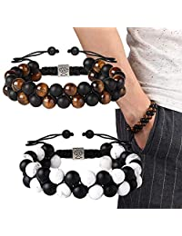 LOLIAS 2 Pcs Leather Wrist Bracelet for Men Stainless Steel Magnetic-Clasp Cool Braided Multi-Layer Cuff Bracelets