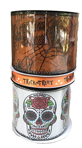 Colorful Sugar Skulls Orange Trick or Treat and Sheer Orange Spider Webs and Skeletons Bundle of Three Halloween Themed Ribbons ()