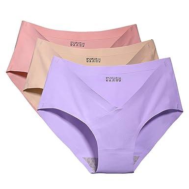 bdd829c736ff Shentukeji V Type Pregnant Women Underwear ice Silk Low Waist Comfortable  Postpartum Seamless Underwear (Purple