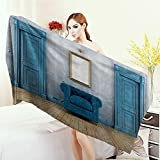 Print fancy towels Blue Antique Empty Room with Two Doors Armchair and Simple Mirror with Golden Color Frame Customized bath Towels 55''x27.5'' Turquoise Blue Ivory