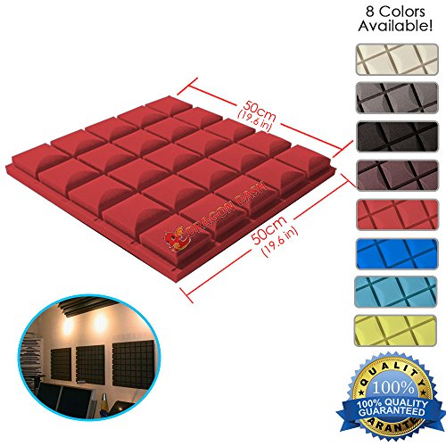 Dragon Dash  1 Piece  Of 19 6  X 19 6  X 1 9  Inches Red Acoustic Soundproofing Hemisphere Grid Type Foam Studio Treatment Wall Panel Tiles  Red