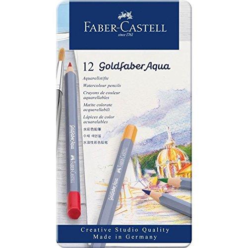 Faber-Castell Creative Studio Goldfaber Aqua Watercolor Pencils - Tin of 12 Colors