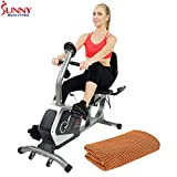 Sunny Health and Fitness Easy Adjustable Seat Recumbent Bike (SF-RB4616) with Workout Cooling Towel