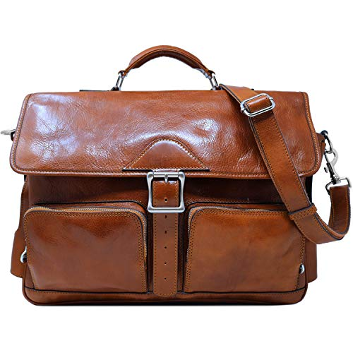 (Floto Roma Italian Leather Roller Buckle Briefcase Messenger Bag Men's Satchel)
