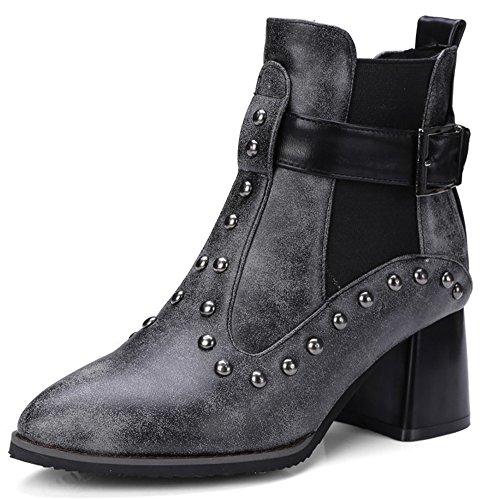 Mofri Women's Punk Style Studded Rivets Buckle Belt Pointed Toe Elastic Medium Chunky Heel Ankle Boots (Black, 12 B(M) US) 12 Black Studded Belt