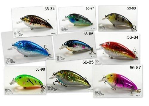 Akuna Pack Of 9 Fat Boy Series 3.2 Inch Diving Fishing Lure [BP 9 FLA 56] by Akuna