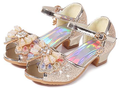 Osinnme Christmas Sandals for Girls High Heel Wedding Princess Size 10 Little Girl Toddler Kids Sequin Dress Rhinestone Shoes Knot 5T (02T Gold 27)