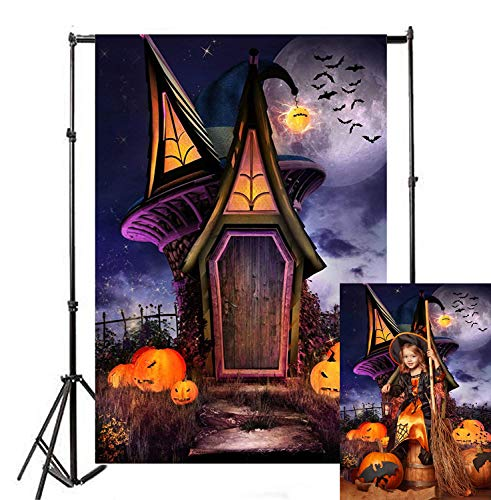 Happy Halloween Wallpaper Scary (Allenjoy 7x5ft Happy Halloween Photography Backdrop Witch House Night Purple Sky and Moon Jack O'Lantern Pumpkin Lantern Scary Graveyard Party Background Decoration Photo Studio Booth)