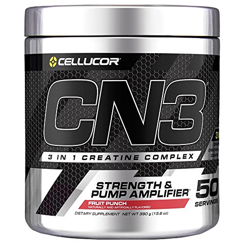 Cellucor CN3 Creatine Nitrate, Creatine HCl, Creatine Monohydrate Powder, Strength and Pump Amplifier, Fruit Punch, 50 Servings (Fuel Creatine Pump)