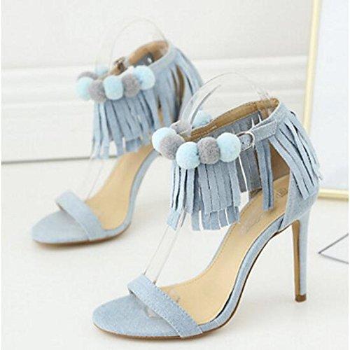 Stiletto de Zapatos Almond claro sandalias Denim Primavera mujer informales azul de para talón Verano ZHZNVX almendra 40Uw5qU