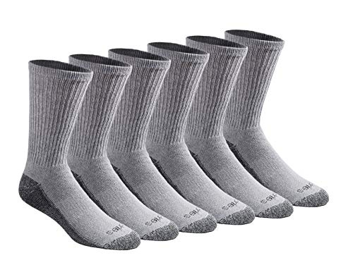 Dickies Men's Multi-Pack Dri-Tech Moisture Control Crew Socks, Gray (6 Pair), Shoe Size: 6-12