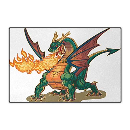 Dragon,Bath Mat,Mythical Fire Spitting Monster Dreamy Mascot Reptilian Culture Cartoon,Door Mats Area Rug,Dark Orange Hunter Green - Hunter Props Monster