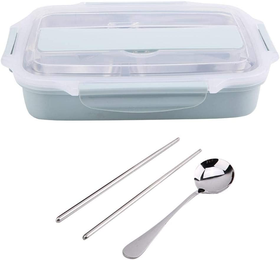 Jeffergarden Food Container Lunch Box Food Storage 304 Stainless Steel Heat Insulation with Chopstick and Spoon (Blue)