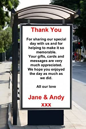 Unique Funny Bus Stop Advert Announcement Personalised Wedding Invitations