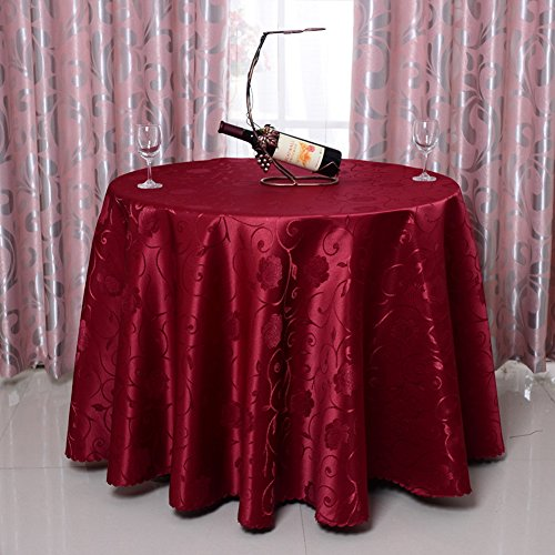UE STORE Large Round Restaurant Table Cover Rose Print Damask 78/102/120 Inches Round Tablecloth (63 Inches, Wine)