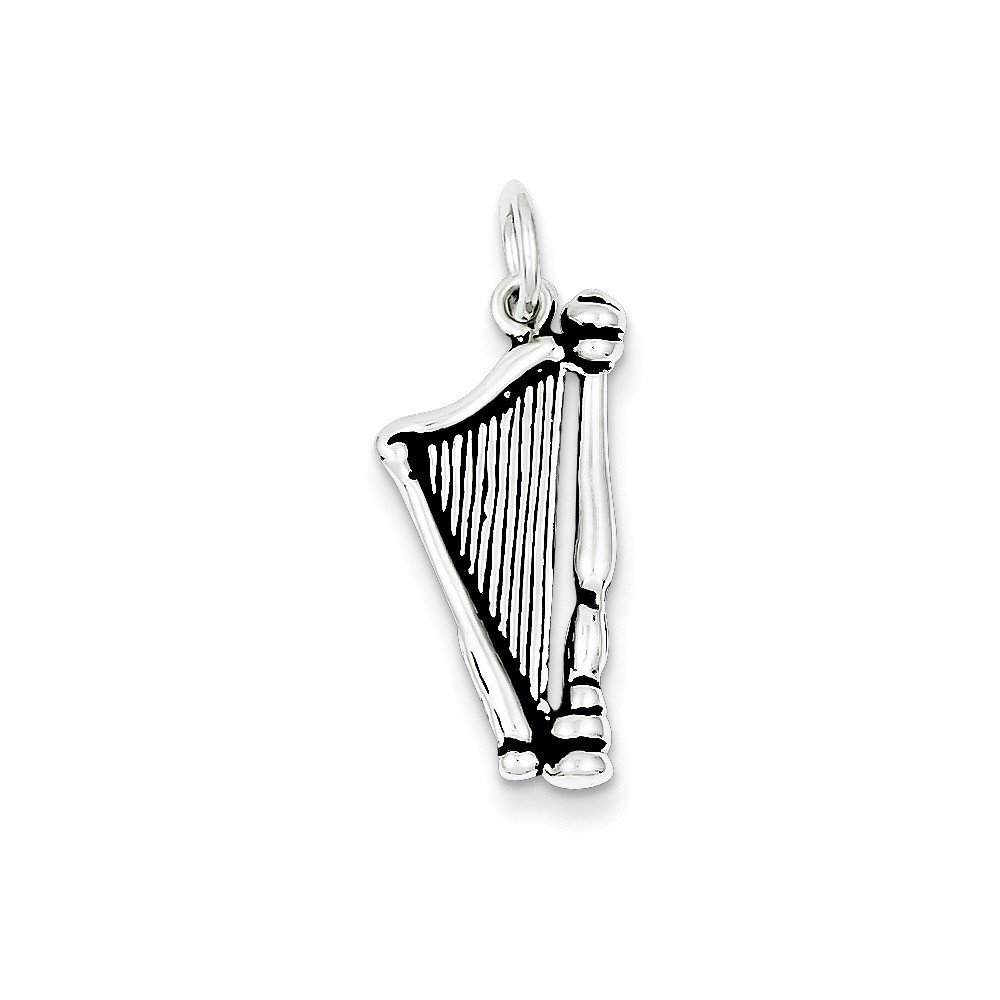 Sterling Silver Antiqued Harp Charm Pendant