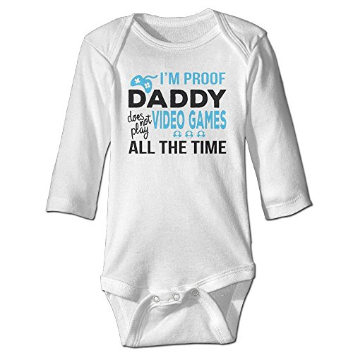 Funny Baby Onesies I'm Proof Daddy Does Not Play Video Games Christmas Onesie Babys Long Sleeve Onesies -